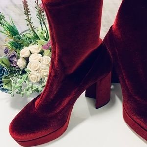 Miu Miu Women's Red Velvet Ankle Boots